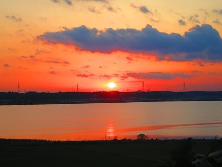印旛沼の夕陽