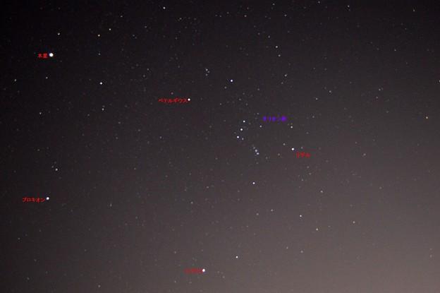 木星オリオン座冬の大三角形