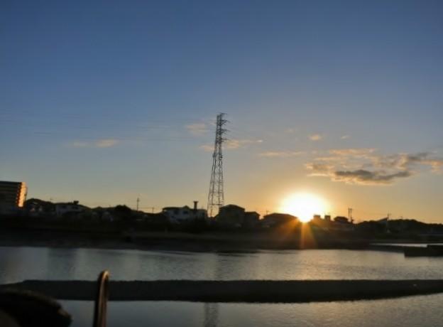 落日の川面