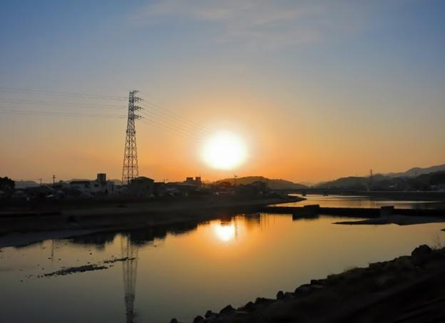 鏡川の黄昏