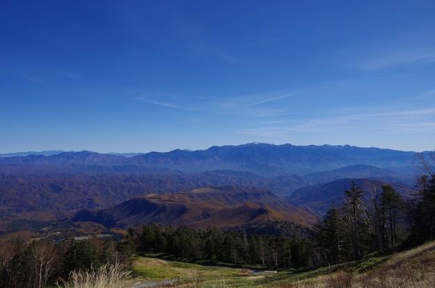 御嶽山から中央、南アルプスを望む