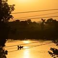 写真: カジュラーホーの池。ボートしてるひとがいたりして幻想的
