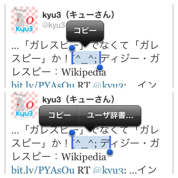 iOS 6テキスト選択時:顔文字(記号?)だけでは『ユーザー辞書…