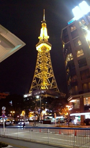 Photos: オアシス21側から見たライトアップされた名古屋テレビ塔(縦パノラマ)