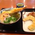 丸亀製麺:大エビうどん と かぼちゃの天ぷら、いなり寿司