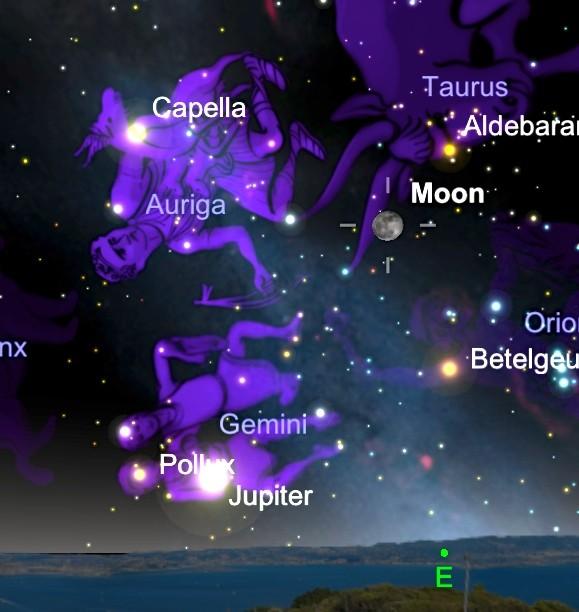 SkySafari 3:月、カペラ、木星(Jupiter)、ベデルギウス、アルデバラン
