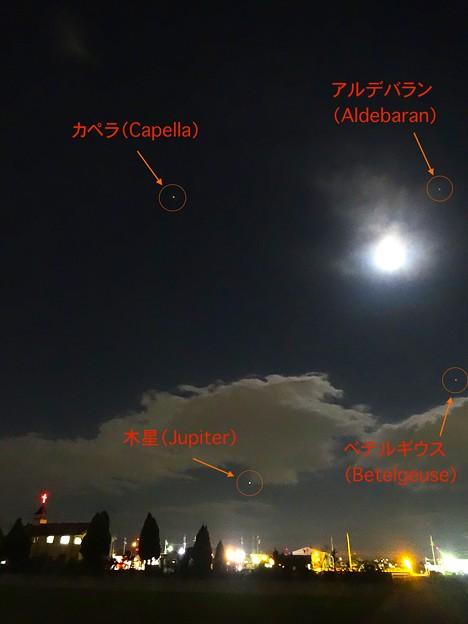 満月に負けず輝く4つの星:カペラ、木星、ベテルギウス、アルデバラン - 2