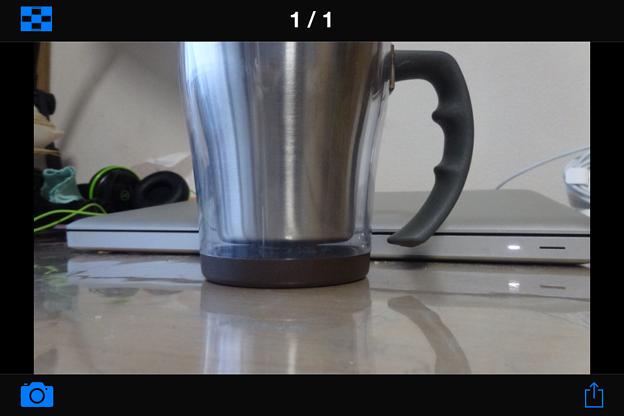PlayMemories Mobile 4.0.1:撮影した写真の確認画面(横向き)