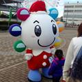 写真: サンタの格好をした、名古屋港シートレインランドのマスコット「シートンくん」