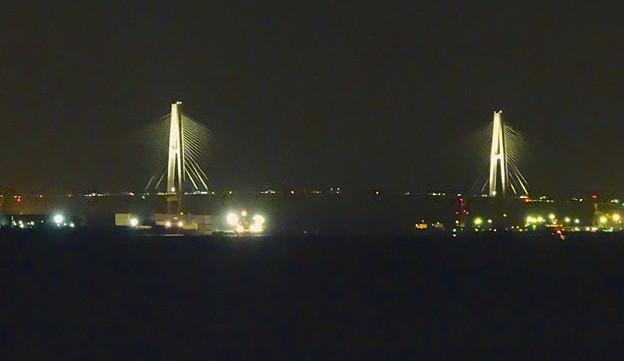 写真: 夜の名港中央大橋 - 1