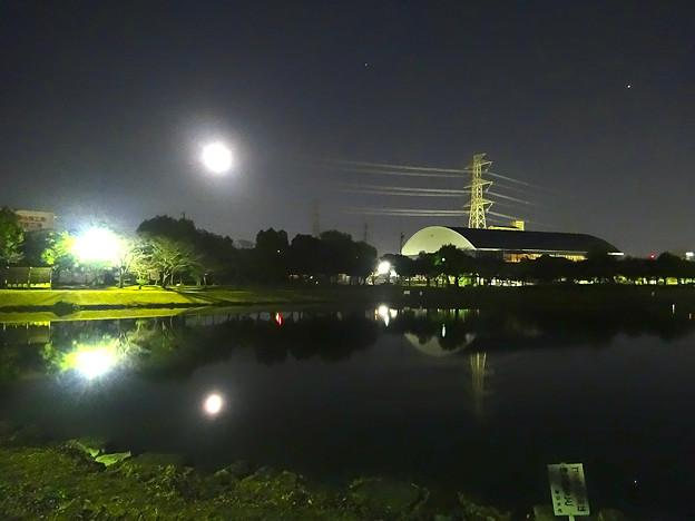 月と鉄塔と池 No - 1