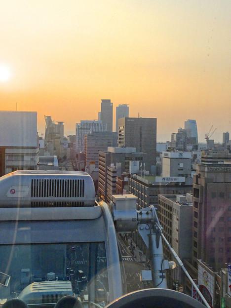 写真: スカイボートから見た景色 No - 087:夕焼け空と名駅ビル群