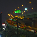 写真: 夜の向野橋から見た景色 No - 40:名古屋高速 黄金出入口