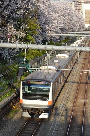 桜と中央快速(E233系0番台)@東中野-中野 [3/28]
