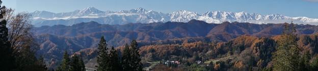 後立山連峰小川村からパノラマ201311,23