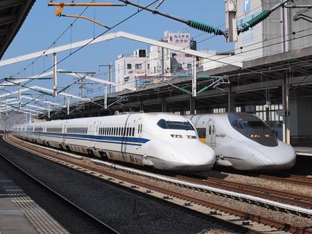 700系のぞみ 700系こだま追い越し 山陽新幹線西明石駅