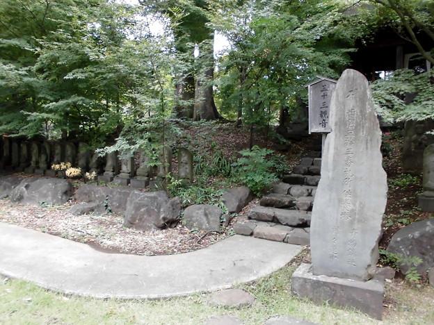 九品仏-17三十三観音(左側)と石標a