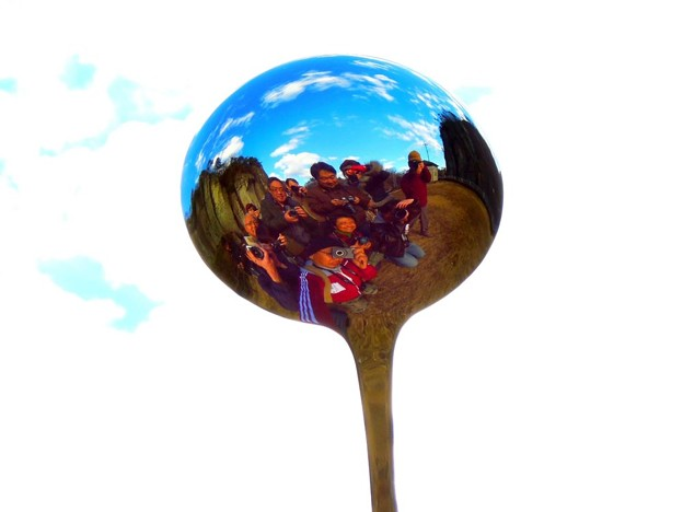 お玉の中の記念撮影