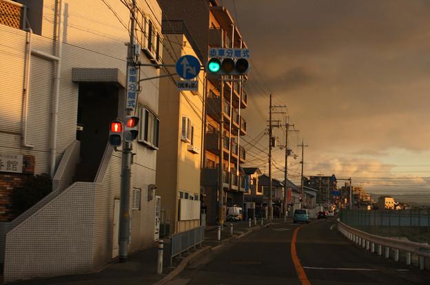 夕陽に包まれて 青信号