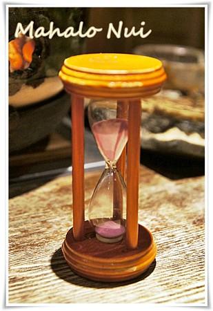 焼き時間を知らせる砂時計