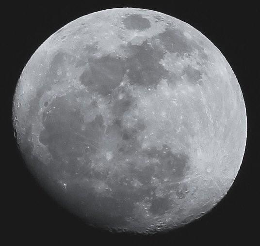 小望月 1 モノクロ (18:35 月齢:12.3)  02:23