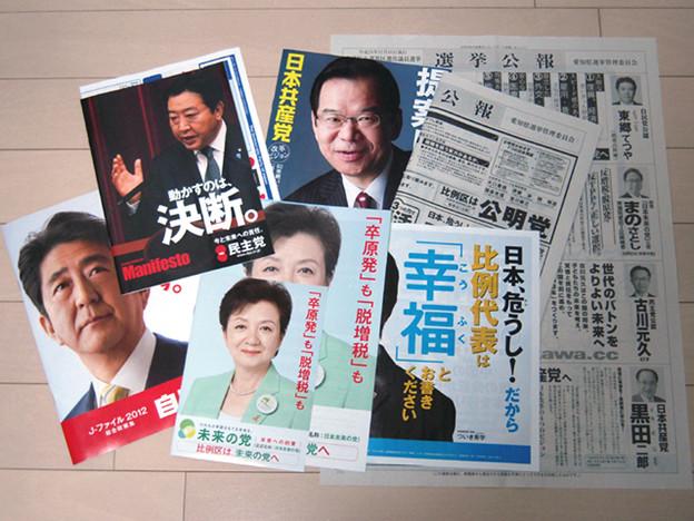 写真: 各党のマニフェストのチェックよ~し、選挙公報で選挙区の候補者チェックよ~し、比例代表をどこにするかチェックよ~し。ということで、もう少ししたら嫁と投票に行ってまいります(`・ω・´)ゞ