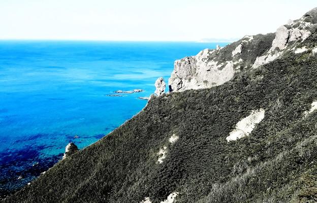 岩肌に碧く~積丹blueの海~