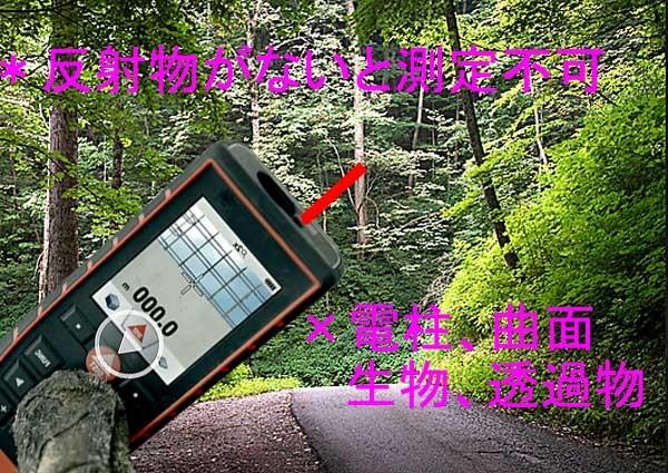 レーザー距離計は反射物体が必要; Laser range finder to measure the reflection.