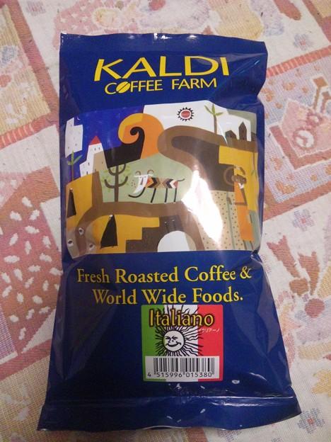 新しくカルディで、コーヒー豆のイタリアーノを買った。
