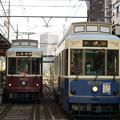 Photos: レトロ調電車の並び
