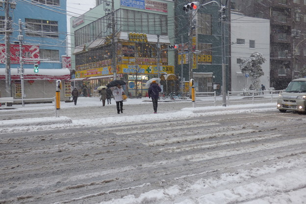 雪の横断歩道