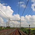 夏雲と線路