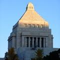 写真: 夕陽の当たる国会議事堂