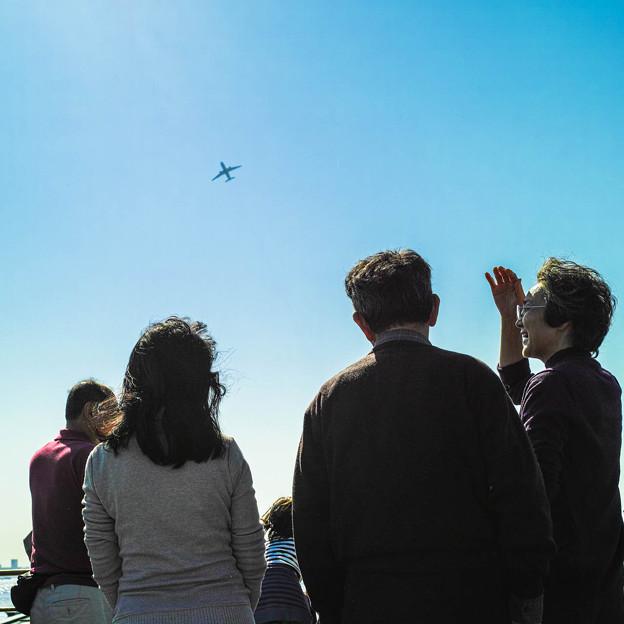 船上から見えた旅客機
