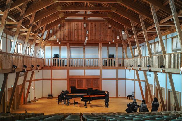 Pianoのツーショット@真鶴の吉祥院の檜チャリティーホール