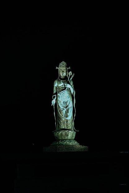 漆黒の中の観音像