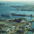 写真: 赤レンガ倉庫,大桟橋,ベイブリッジの位置関係