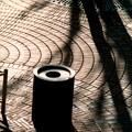 タイル、影、灰皿