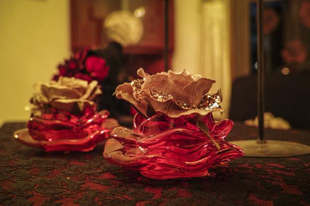 赤いガラスの輝き