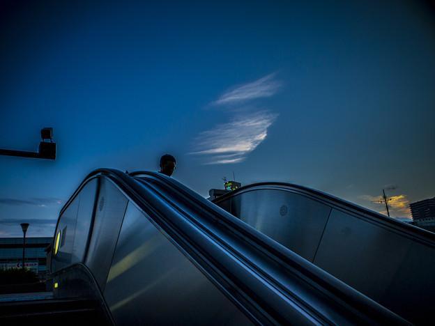 Photos: 空の青さに同化するエスカレーター