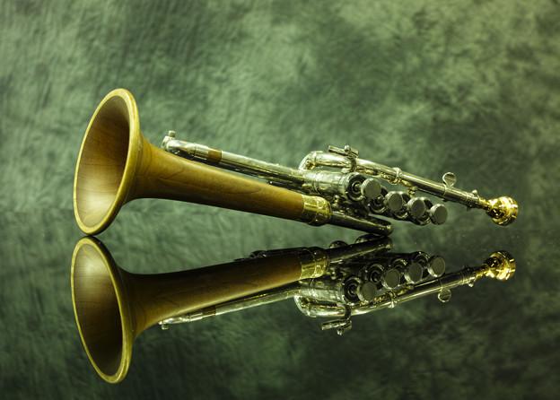Photos: 木製のベルが着いた珍しいPiccolo Trumpet