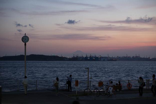 若洲海浜公園の夕富士