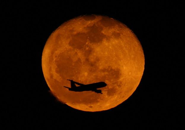 Photos: 十六夜の月と飛行機 2013-02-27 (2)