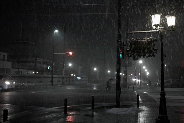 吹雪の帰り道