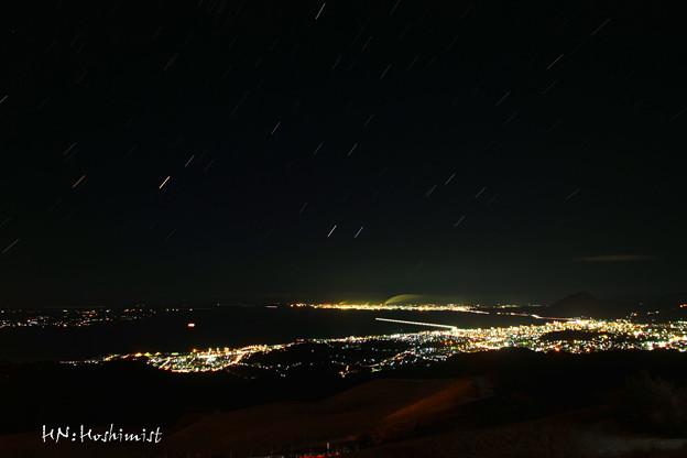 十文字原からの別府湾夜景と春の大三角・火星 2014.02/08