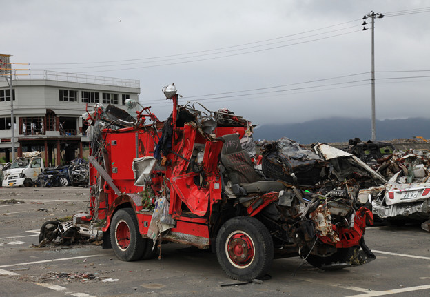 写真: 被災地に襷繋いで