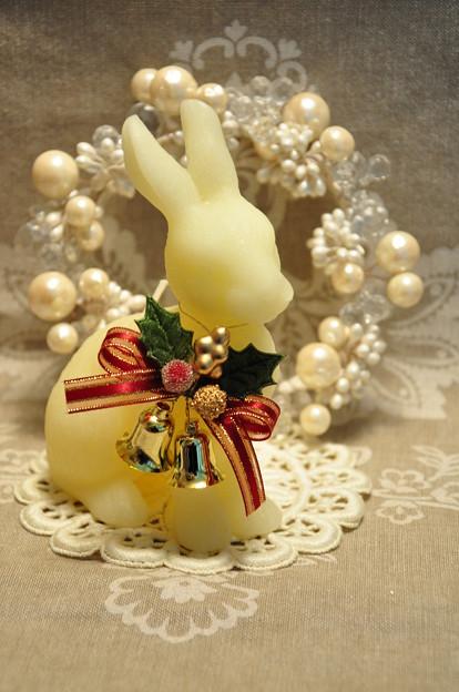 うさぎとリース(クリスマス)