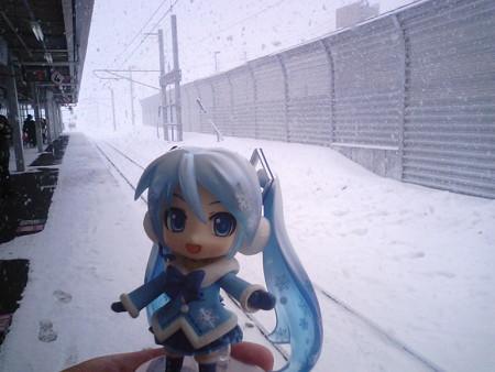 青森駅まで普通列車での連絡を強いられます。外はブリザードですし(((...