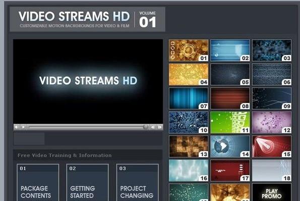 AE高清动态MOV及背景素材VideoCopilot: Video Streams HD