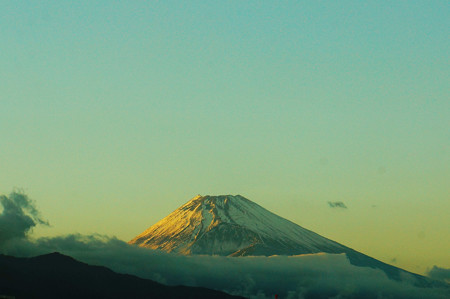 写真: 夕映えの富士